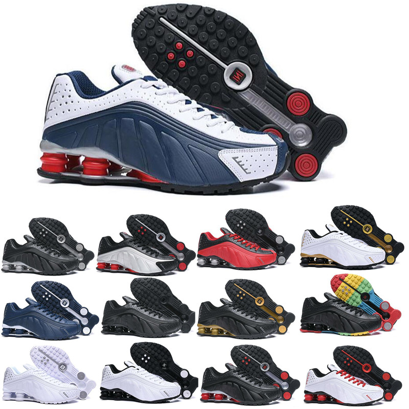 2019 Shox R4 Men Running Shoes Top Quality NEYMAR OG COMET RED RACER BLUE Black Metallic Mens Trainers Sports Sneakers 40-45