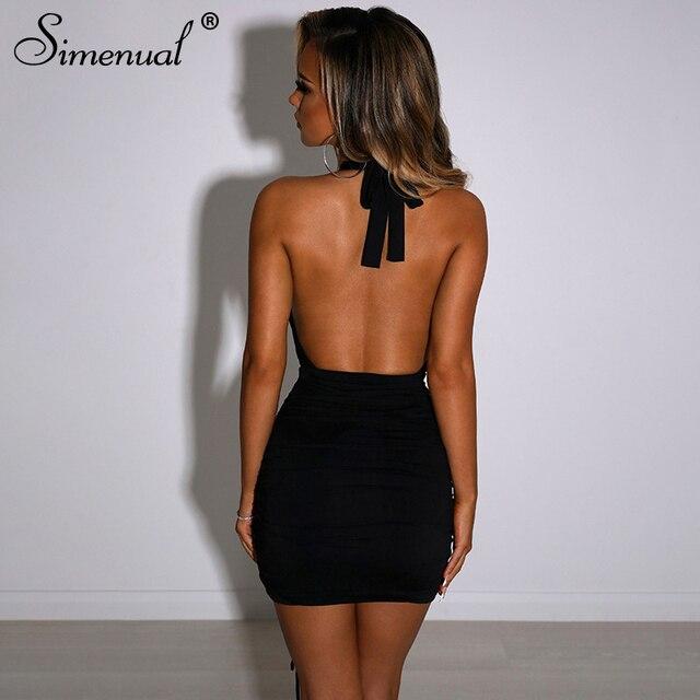 Simenual-Vestido corto femenino ajustado con cuello Halter para verano, minivestido Sexy con cordón para mujer, para fiesta, Club nocturno y cumpleaños 3