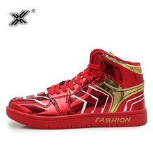 X Brand Fashion Red Glitter Sneakers Men High top Golden Shine Superstar Trend