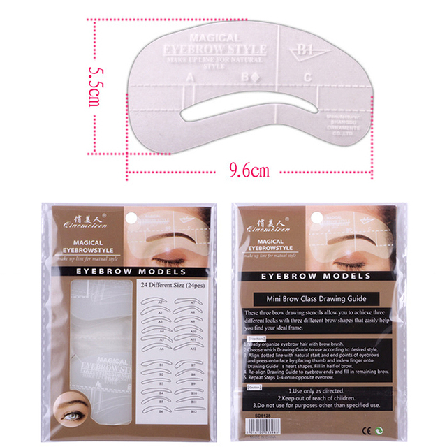 24Pcs Eyebrow-shaped Permanent Mold Template Design Thrush Card Threading Word Eyebrow Tattoo Artifact Aid Card Makeup Tools 3
