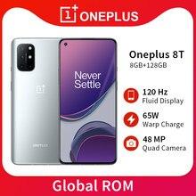Original oneplus 8t 8gb ram 128gb rom telefone móvel snapdragon 865 120hz display amoled fluido 48mp quad camera 65w carga