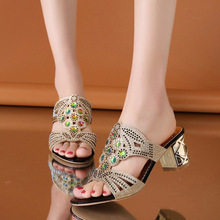 2019 Latest Woman Diamond Cool Slipper Hollow Out Fish Mouth Non-slip Feminino Retro Sandals Thick High Heel Rhinestone Shoes 15 cm glass slipper super stilettos roman shoes soft face hollow out sandals fish mouth shoes taking pictures