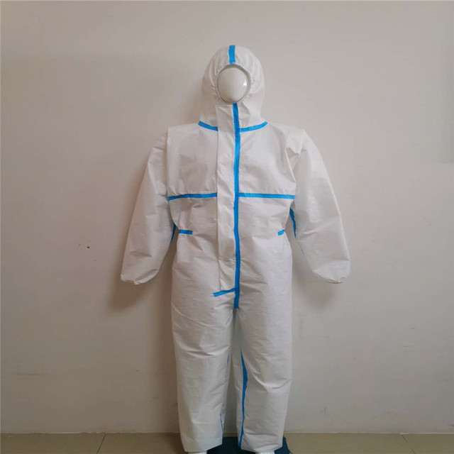 Professional PPE Suit Coverall Hazmat Suit Disposable Anti-Virus Protective Clothing Disposable Factory Hospital Safety Clothing 5