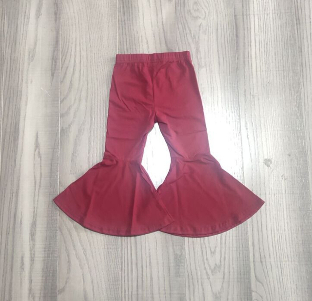 Girlymax fall/winter baby girls  children clothes cotton black wine mustard solid color ruffles bell-bottoms pants 2