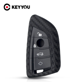 KEYYOU Carbon Silicone Car Key Case Cover Skin For BMW X5 X6 F16 F15 5 Series 2014- Smart Remote Car Fob Full Case image