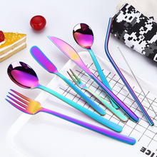 2019new Stainless Steel Cutlery Portable Set Fruit Forks Dinner Knives Dessert Spoons with Metal Straw Bag