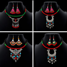 2019 Vintage Ethnic Jewelry Sest Handmade Antique Silver Choker Necklaces Drop Earrings Set Boho Costumes Accessories(China)