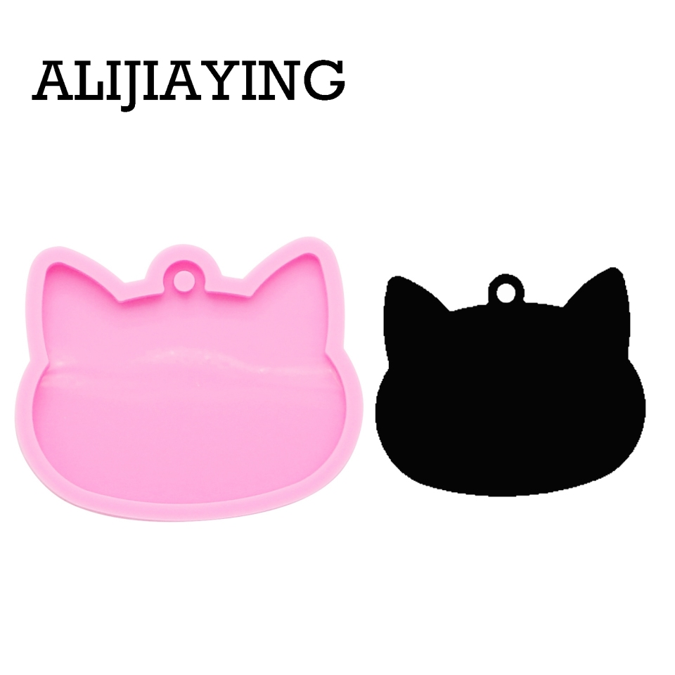Dy0089 Diy Shiny Cat Head Keychain Silicone Mold Epoxy Resin Molds For Jewelry Polymer Clay Candy Chocolate Moulds Clay Extruders Aliexpress