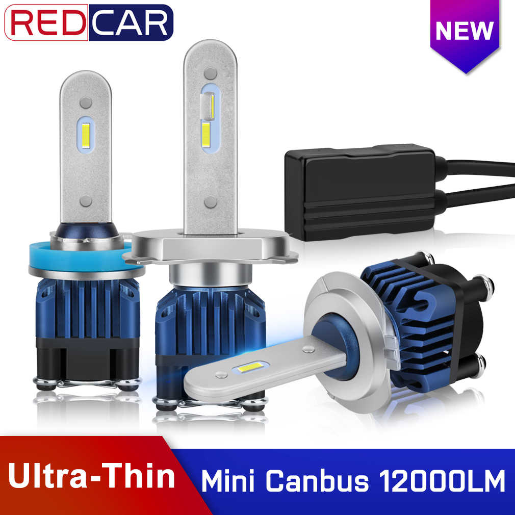 2pcs 12000LM H11 Fog lights H4 h7 LED Headlight 3mm Ultra-thin HB3 9005 HB4 9006 LED H1 Mini Canbus High low beam Auto Lamps