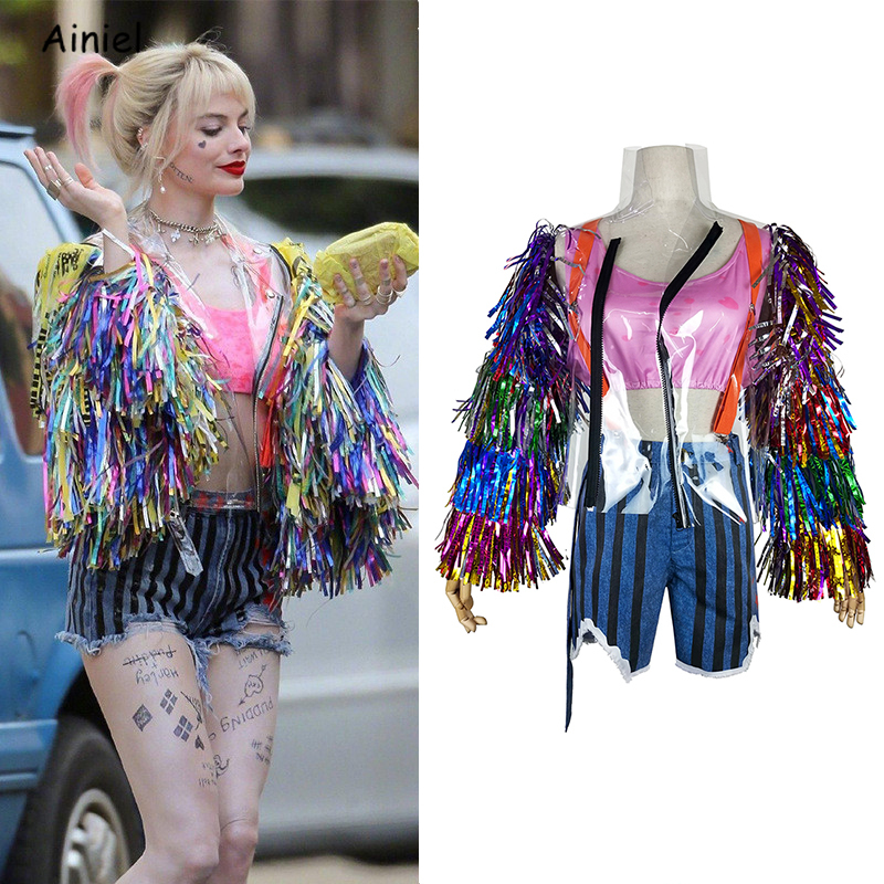 2020 Movie Birds Of Prey Cosplay Costume Women Disfraz Harley Quinn Sexy Suit Shorts Ribbon Jacket Halloween Party Suicide Squad Movie Tv Costumes Aliexpress
