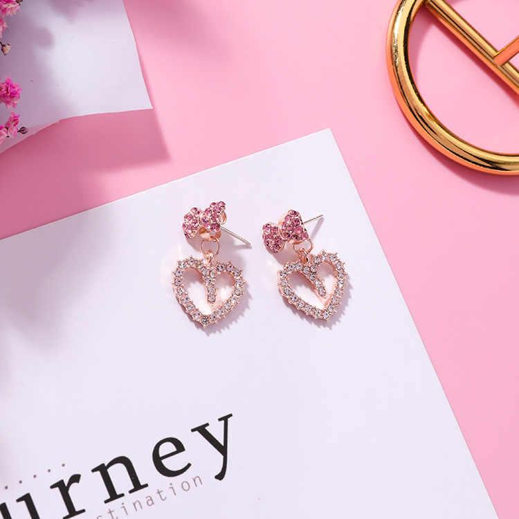 2019 простые корейские милые розовые серьги в форме сердца для девочек, серьги-капли с бантом для принцессы, оптовая продажа для женщин, модные ювелирные аксессуары