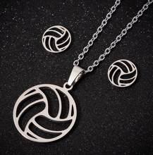 Moda praia voleibol pingente colares feminino oco bola aço inoxidável corrente colar desportivo círculo estudantes jóias presente