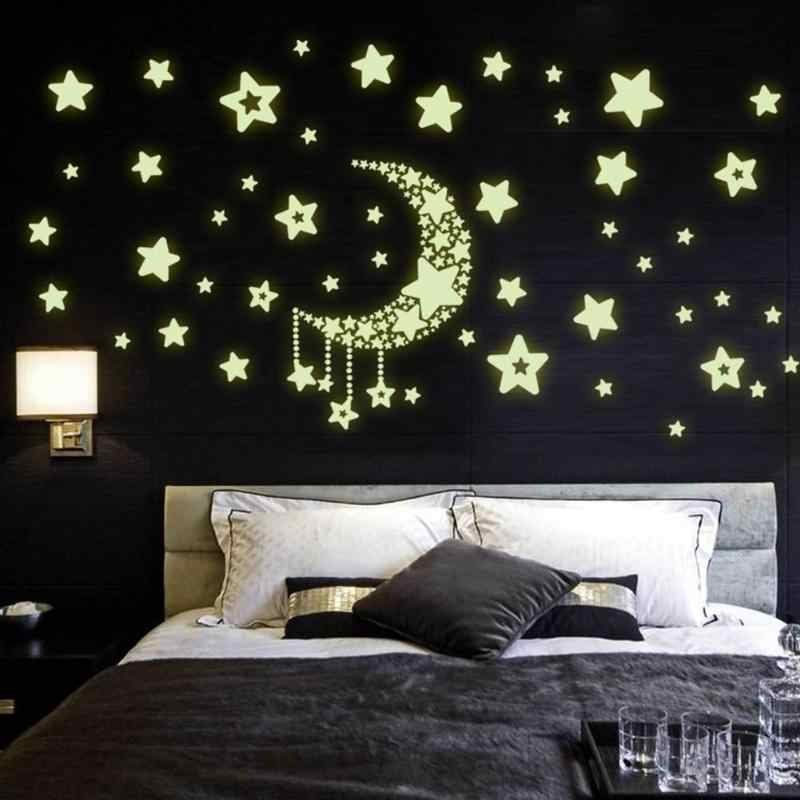 DIY Sky Moon Star Saturn Stickers Luminous Wall Decal Night Light Pattern Wallpaper For Bedroom Home Decor