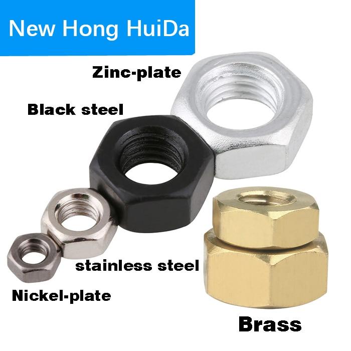 Brass Stainless Steel Black Steel Hex Nut  Metric ThreadHexagon Nut M1 M1.2 M1.6 M2 M3 M4 M5 M6 M8 M10 M12 M14 M16