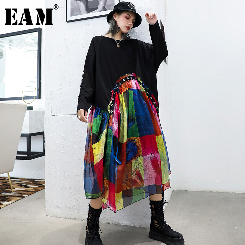[EAM] Women Black Pattern Printed Big Size Dress New Round Neck Long Sleeve Loose Fit Fashion Tide Spring Autumn 2019 1D616