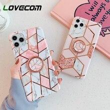 Funda metálica para teléfono de mármol geométrico rosa con soporte de anillo para iPhone 11 Pro Max XR X XS Max 7 8 Plus, carcasa blanda chapada en IMD