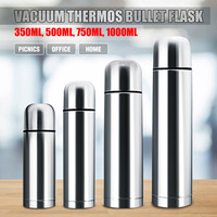 Stainless Steel Vacuum Thermoses Bullet Flask Cup Silver 350/500/750/1000ml Hot Cold thermal Water Bottle Keeps Warm or Cool