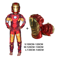 SuperHero Kids Muscle Hulk Cosplay Costumes Clothes With Gloves Child spiderman Super Hero iron Man ironman Children's Day Gift
