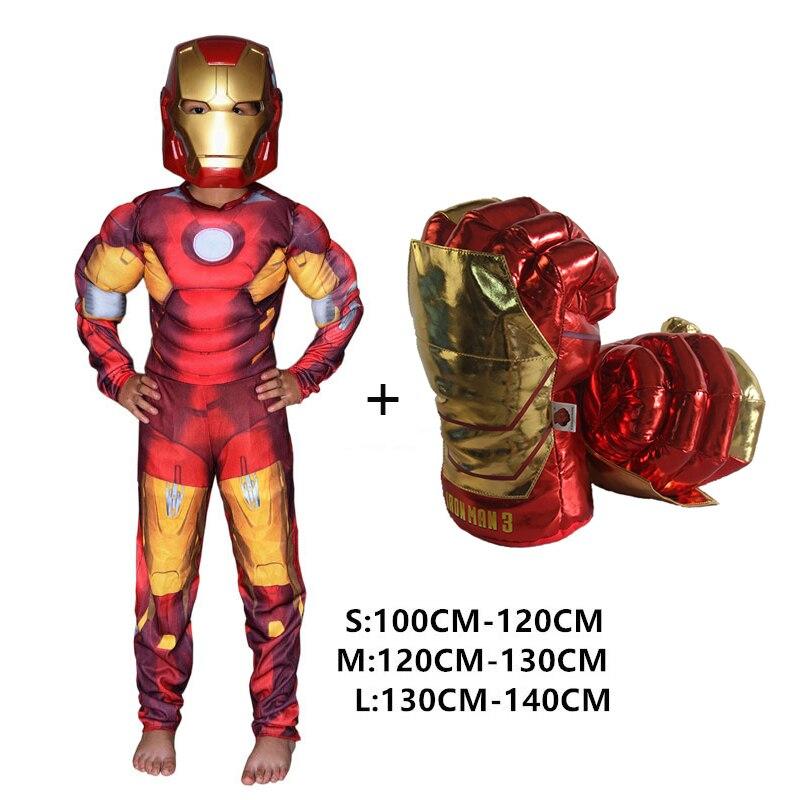 Super-heróis Crianças spiderman Hulk Muscular Trajes Cosplay Roupas Com Luvas Criança Super Herói Homem de ferro ironman Presente do Dia das Crianças
