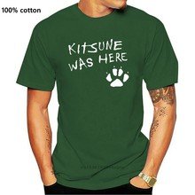 T camisa masculina raposa kitsune t camisa japonesa raposa kitsune estava aqui impressão gótico lolita pastel goth bonito asiático camiseta
