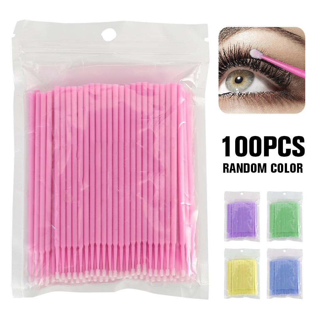 100PCS/Lot Disposable Eyelash Brushes Swab Microbrush Increase Eyelash Extension Cotton Swab Micro Lash Applicator Micro Cepillo
