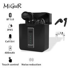 Miguer hx03 tws 5.0 fone de ouvido sem fio mini tecnologia estéreo de alta fidelidade surper bass touch chave com caixa de carregamento 400mah em estoque