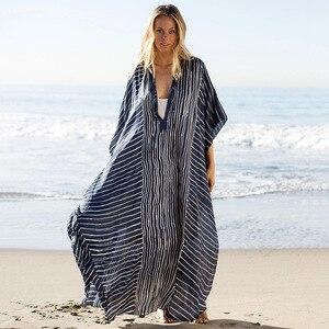 Image 2 - 2020 حجم كبير مخطط الصيف بحر الشيفون قفطان شاطئ امرأة تونك حمام فستان رداء بلاج ملابس سباحة حريمي التستر # Q844