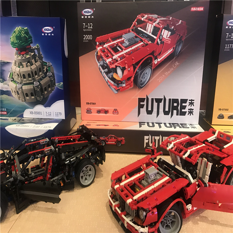 DIY 2000PCS Assembly Building Blocks Car 2014MUSCLE CAR XB-07001 Vehicle Blocks Educational Toy Gift for Boys and Girls