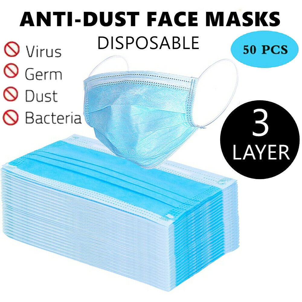 50Pcs Per Bag Disposable Mask 3 Layers Prevent Dust Respirato Earloop Proof Face Mouth Mask
