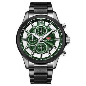 Image 1 - MINI FOCUS marque de luxe hommes montres en acier inoxydable 30m étanche multifonction Sport horloge hommes montre bracelet montre à Quartz homme
