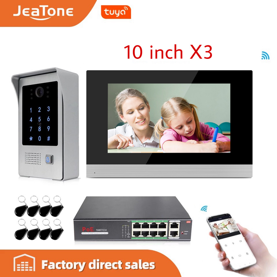10 Inch WIFI IP Video Door Phone Intercom Door Bell Villa Building Access Control System Touch Screen Motion Detection 1 To 3