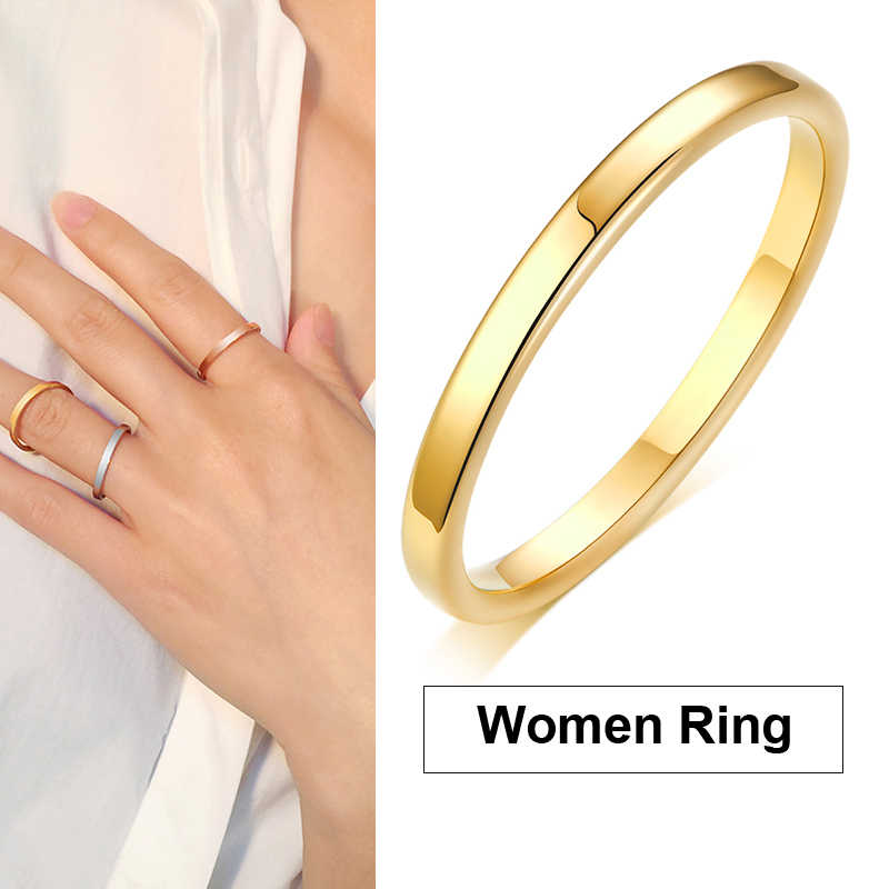 2mm Thin Stainless Steel Golden Women Ring Wedding Brands Stacking Anillos Mujer Jewelry