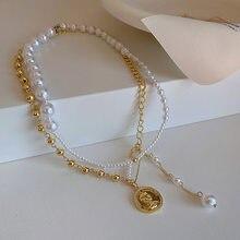 Estilo coreano perla Vintage Pin moneda collar con dos capas de las mujeres-encuentro collar tipo cadena hasta la clavícula Normcore estilo