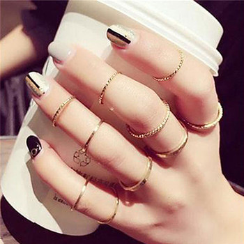 15 Pcs/set Women Fashion Rings Hearts Fatima Hands Virgin Mary Cross Leaf Hollow Geometric Crystal Ring Set Wedding Jewelry 15