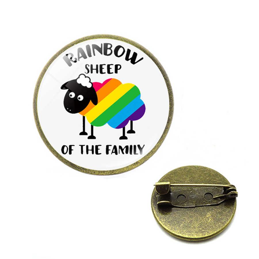 Rainbow LGBT เข็มกลัดเกย์เลสเบี้ยน Pride Pins Rainbow FLAG Bi Pride Heart แก้ว Cabochon เครื่องประดับ Dropshipping CC เข็มกลัด