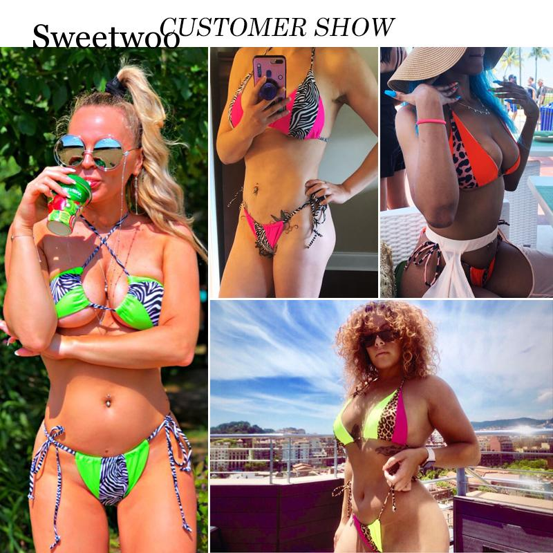 Bikinx Triangle Leopard Bikinis 2019 Mujer Biquini Neon Sexy Swimwear Women Bathing Suit String Swimsuit Push Up Micro Bathers in Bikinis Set from Sports Entertainment