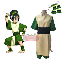 цена на Cosplaylegend Avatar The Last Airbender Toph Beifong Cosplay Costume adult Halloween Costume full set custom made green