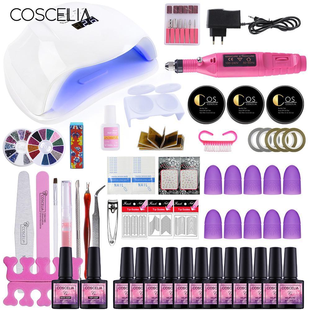 COSCELIA Manicure Set Choose 12 Colors Gel Polish Base Top Coat Nail Kits 54/36/24W UV LED Lamp Nail Kit Electric Manicure Drill