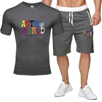 Letnia dwuczęściowa męska odzież sportowa męska drukowana odzież sportowa zestaw koszulek męska koszulka + spodenki odzież sportowa tanie i dobre opinie O-neck NONE Poliester Krótki