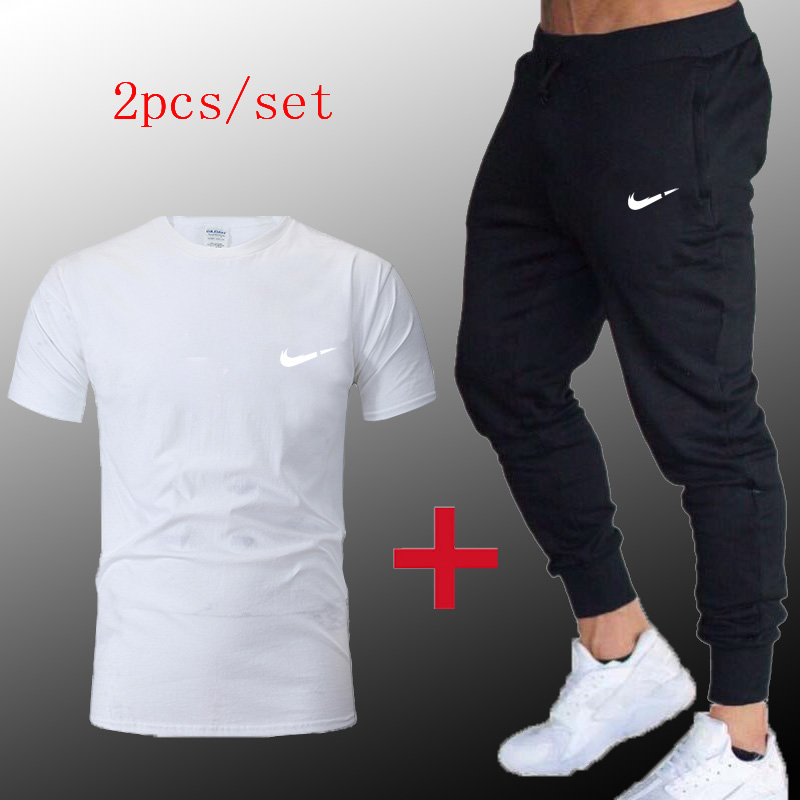 New Men2019Spring autumn T-shirt + pants Sports Suits Gym sportswear Mens  Fitness Tracksuits Running Set Jogging Tracksuit