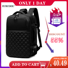 EURCOOL 2019 جديد حقيبة السفر الرجال توسيع 12 سنتيمتر حقيبة متعددة الوظائف محمول حقائب الظهر الذكور Mochila صالح 15.6 بوصة N1811 x