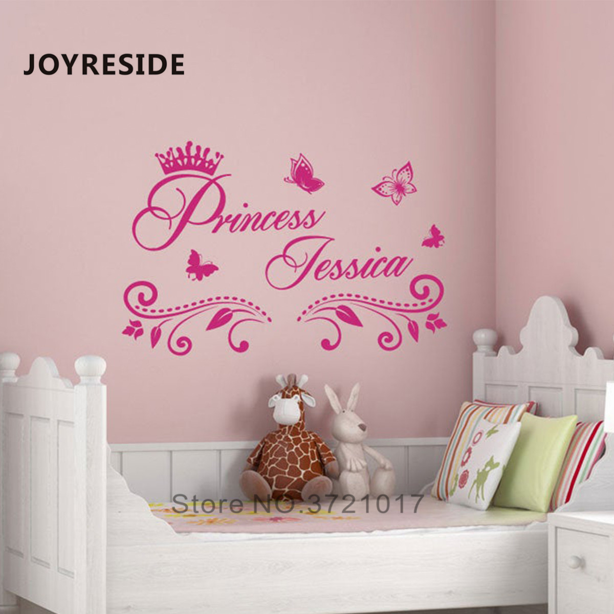 US $2.73 30% OFF|Princess Custom Girls Name Art Design Wall Sticker Home  Baby Girls Bedroom Wall Decor Wall Stickers Personalized Name Vinyl M397-in  ...