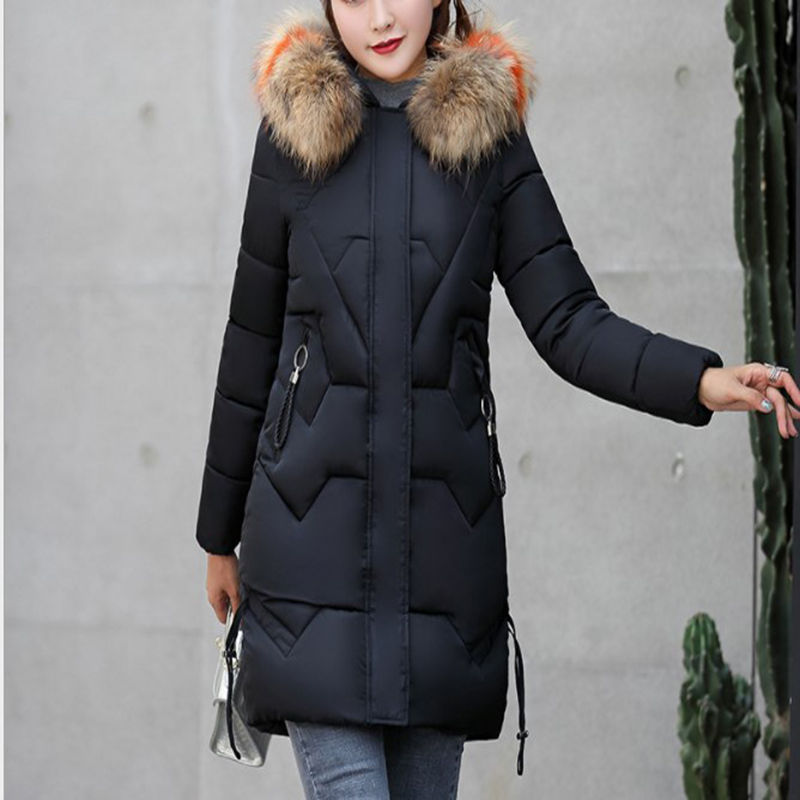 2019 winter women's cotton in long casual hooded Slim large fur collar cotton coat