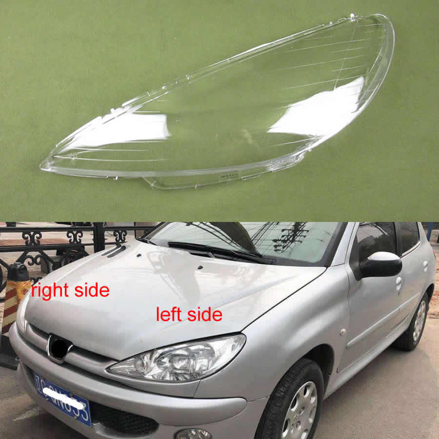 For Peugeot <font><b>206</b></font> 2004 2005 2006 207 2008 Lampshade Headlamp cover Transparent Lampshade <font><b>Headlight</b></font> cover Shell Mask Hardened image