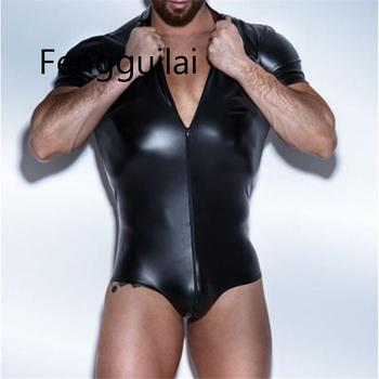 Mens Leather Bodysuit Latex Catsuit Men Faux Crotchless Gay Clothing Body Suit Sexy Lingerie One Piece Underwear