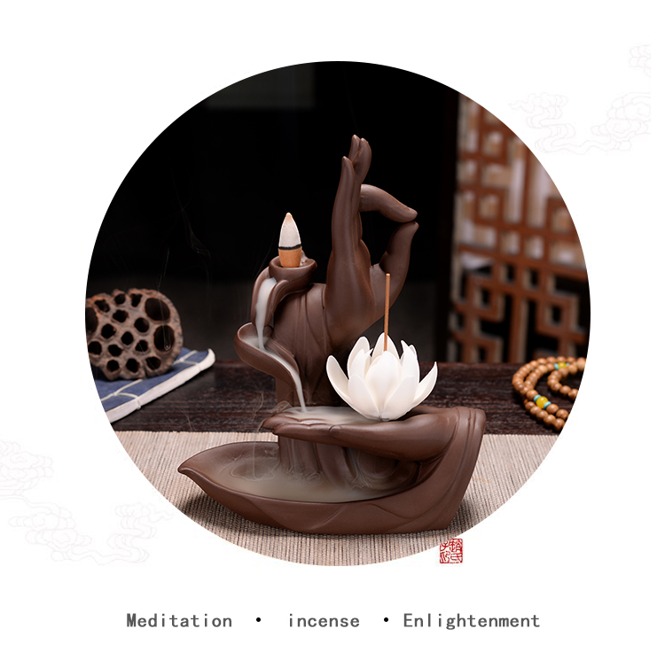Backflow de lótus incenso burener fumaça cerâmica