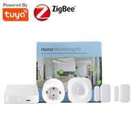 Smart Home Monitoring Kit Tuya Smart Gateway Door Window Sensor PIR Motion Sensor Power Monitoring EU Type Smart Plug Socket 16A