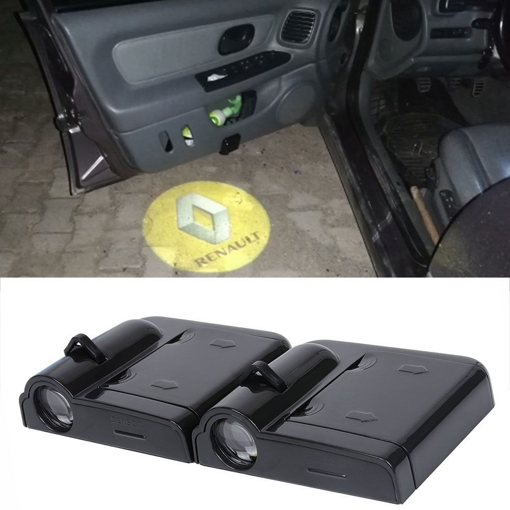 2X <font><b>LED</b></font> Car Door Welcome Light Projector <font><b>Logo</b></font> Courtesy Laser Shadow Lamp For <font><b>Renault</b></font> duster megane 2 3 clio capture fluence image