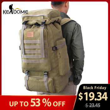 60L Large Military Bag Canvas Backpack Tactical Bags Camping Hiking Rucksack Army Mochila Tactica Travel Molle Men Outdoor XA84D - Category 🛒 Sports & Entertainment