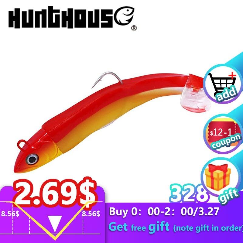 Hunthouse Newest Black Minnow Leurre Souple Leurre Brochet 100mm 25g 120g 90g  Jig Head Fishing Soft Lure Bass Pike Perch Lure